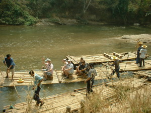 happiness with nature by bamboo rafting
